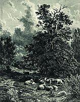 Herd of sheep on the forest edge, shishkin