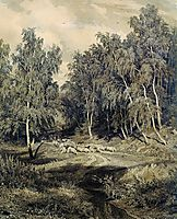 Landscape with herd of sheep, shishkin