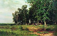 Mowing in the oak grove, 1874, shishkin