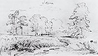 The sketch for the painting , 1878, shishkin