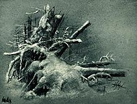 Uprooted stumps under the snow, shishkin