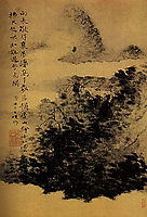 Between mountain and river, not far from Mount Huang, 1667, shitao