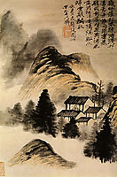 The Hermit lodge in the middle of the table, 1707, shitao
