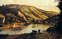 An Extensive River landscape, Probably Derbyshire, With Drovers And Their Cattle In The Foreground, 1698, siberechts