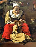 Delousing scene. Detail of a painting by Jan Siberechts, Farmyard, 1662, siberechts