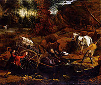 Figures With A Cart And Horses Fording A Stream, siberechts