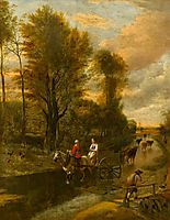 A Horse-Drawn Cart with Two Women Travelling down a Flooded Road at the Edge of a Wood, 1692, siberechts