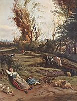 Pasture with two sleeping Shepherdesses, siberechts