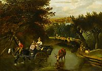 A Wooded Landscape with Peasants in a Horse-Drawn Cart Travelling Down a Flooded Road, siberechts