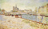 Notre Dame, Ile Saint-Louis, seen from the dock Tournelle sun, 1884, signac