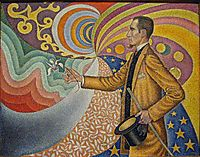 Portrait of Félix Fénéon in Front of an Enamel of a Rhythmic Background of Measures and Angels Shades and Colors, 1890, signac