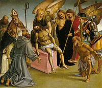 Lamentation over the Dead Christ with Angels and Saints, c.1516, signorelli