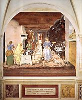 Life of St. Benedict. Benedict Tells Two Monks What They Have Eaten, 1502, signorelli