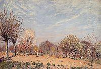 Apple Trees in Flower, Spring Morning (Pommiers en Fleurs Louveciennes), 1873, sisley