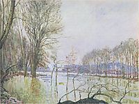 The Banks of the Seine in Autumn flood, sisley