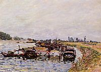 Barge Garage at Saint Mammes, 1885, sisley