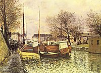Barges on the Canal Saint Martin in Paris, 1870, sisley