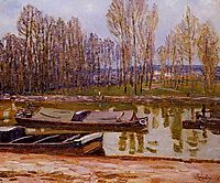 Barges on the Loing Canal, Spring, 1896, sisley