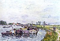 Barges at Saint Mammès, 1885, sisley
