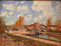 The Bourgogne Lock at Moret, Spring, 1882, sisley