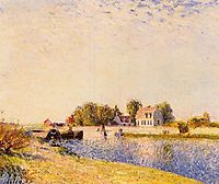 The Dam on the Loing Barges, 1885, sisley