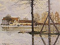 Ferry to the Ile de la Loge, Flood, 1872, sisley
