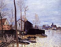 Flooding at Moret, 1889, sisley