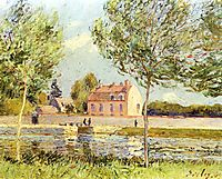 Houses on the banks of the Loing, 1889, sisley