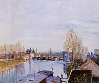 The Loing at Moret, the Laundry Boat, 1890, sisley