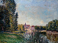 Loing River and Church at Moret, 1886, sisley