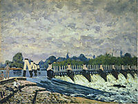Molesey Weir at Hampton Court Morning, 1874, sisley