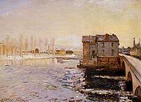 The Moret Bridge and Mills under Snow, 1890, sisley