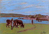 Pasture by the Seine, c.1897, sisley