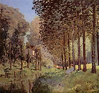 The rest beside a stream. Wood strip, 1878, sisley