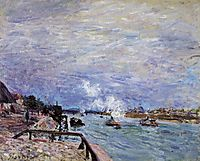 The Seine at Grenelle Rainy Wether, 1878, sisley