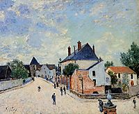 Street in Moret(Porte de Bourgogne from across the Bridge), c.1888, sisley