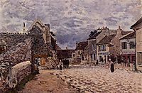 Village Street Grey Weather, 1874, sisley