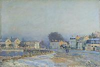 The Watering Place at Marly Le Roi Hoarfrost, 1875, sisley