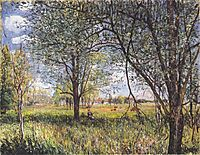 Willows in a field afternoon, sisley