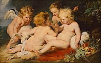 Christ and John the Baptist as children and two angels, snyders