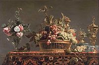 Grapes in a basket and roses in a vase, snyders