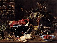 Still Life with Crab, Poultry, and Fruit, 1620, snyders