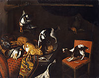 Still Life with dead hares and birds, armchair, hounds, hunting gun , snyders