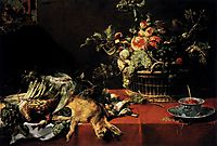 Still Life with Fruit Basket and Game, 1620, snyders