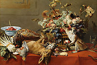Still Life with Fruit, Dead Game, Vegetables, a Live Monkey, Squirrel and Cat , snyders