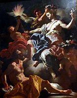 Aurora, Roman Goddess of the Dawn, Bids Goodbye to Her Lover Tithonus. Aurora is about to Illuminate the Darkness of Night, 1704, solimena