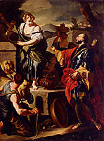 Rebecca and Eliezer at the Well, solimena