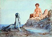 Mermaid and faun, c.1904, solomko