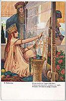 Persian woman twisting a carpet, solomko
