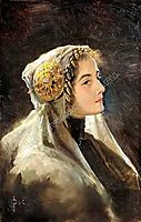 Russian beauty with the traditional headdress, solomko
